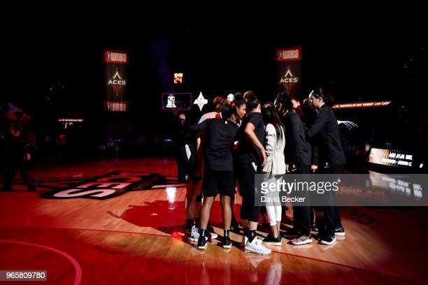 the Las Vegas Aces huddle prior to the game against the Washington Mystics on June 1 2018 at the Mandalay Bay Events Center in Las Vegas Nevada NOTE...