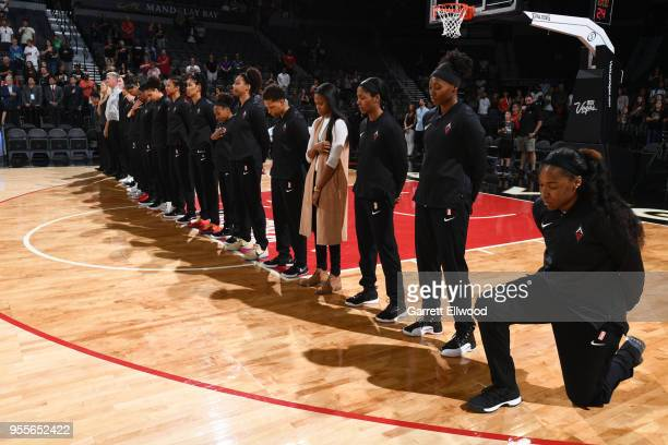 The Las Vegas Aces look on for the national anthem prior to the preseason game against the China National team on May 6 2018 at the Mandalay Bay...