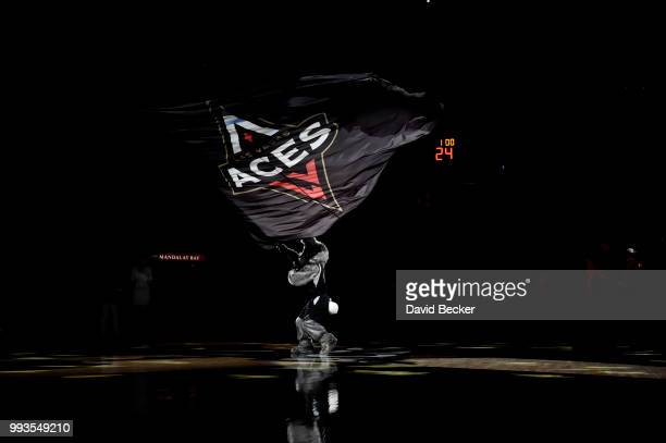 the Las Vegas Aces team flag is seem prior to the game against the Connecticut Sun on July 7 2018 at the Mandalay Bay Events Center in Las Vegas...
