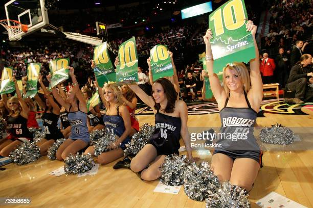 The Las Vegas AllStar Dance Team holds up 10's during the Sprite Slam Dunk Competition at NBA AllStar Weekend on February 17 2007 at the Thomas Mack...