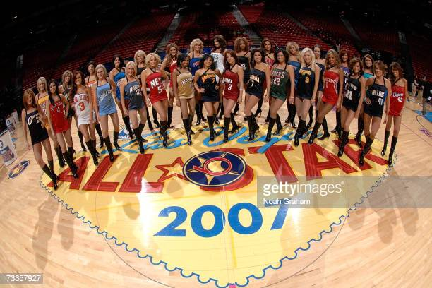 The Las Vegas AllStar dance team poses for a photo before the Haier Shooting Stars at NBA AllStar Weekend on February 17 2007 at Thomas Mack Center...