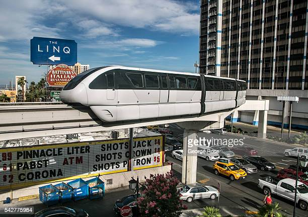 """The Las Vegas Monorail crosses over Flamingo Road as viewed on June 9, 2016 in Las Vegas, Nevada. Tourism in America's """"Sin City"""" has, over the last..."""