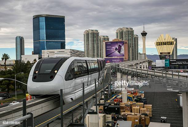 The Las Vegas Monorail crosses over the Las Vegas Convention Center as viewed on January 4 2017 in Las Vegas Nevada Nearly 200000 people flock to the...