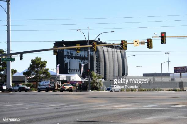 The Las Vegas strip and surrounding roads that lead to the venue where the Route 91 Harvest country music festival was held are closed October 2 2017...