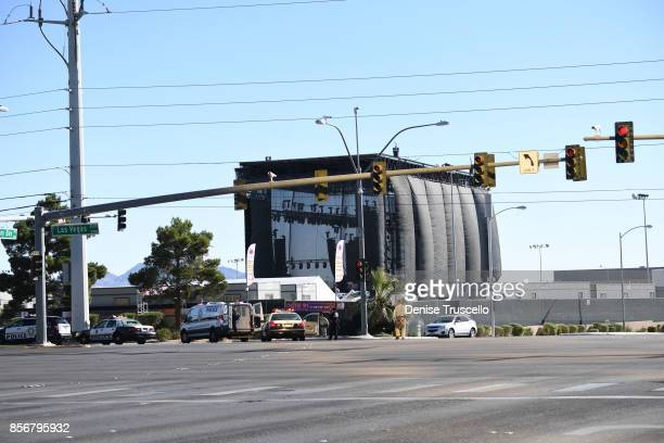 The Las Vegas strip and surrounding roads that lead to the venue where the Route 91 Harvest country music festival was held are closed, October 2,...
