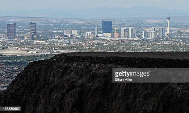 The Las Vegas Strip is shown behind some of the 313 luxury estate home sites nestled atop the McCullough Range at Ascaya, Nevada's premier luxury...