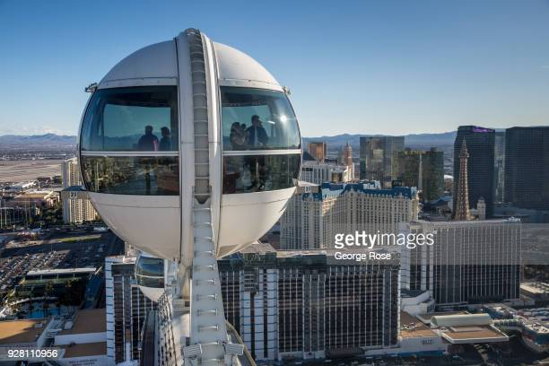 The Las Vegas Strip is viewed looking south from the High Roller Observation Ferris wheel on March 2 2018 in Las Vegas Nevada Millions of visitors...