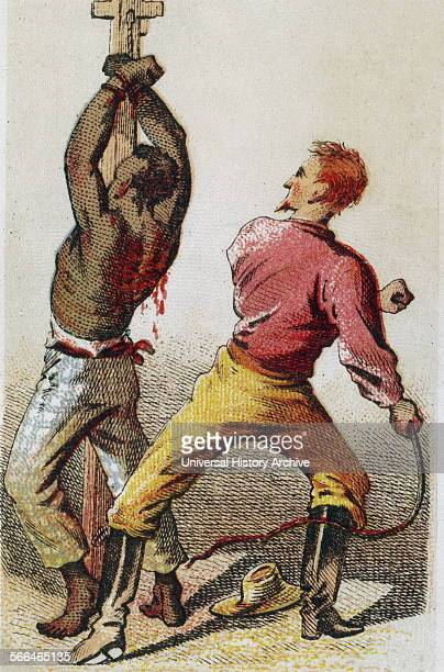 The Lash' Card showing bound African American slave being whipped Slaves were a common sight in North America up until the Emancipation Proclamation...