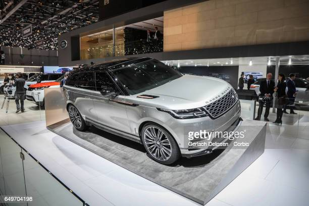 The Lasnd Rover Range Rover Velar on display during the second press day of the Geneva Motor Show 2017 at the Geneva Palexpo on March 8 2017 in...