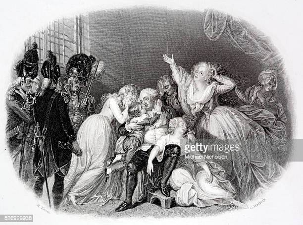 The last audience of Louis XVI and his family Sentimental engraving by G Presbury of a prison scene of him surrounded by his children and swooning...