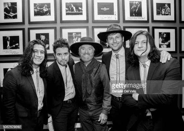 The Last Bandoleros and Michael Martin Murphey take photos backstage during Austinology Alleys of Austin at Franklin Theater on October 18 2018 in...