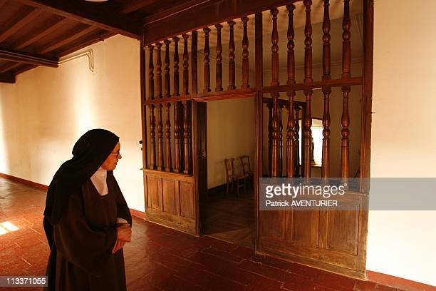 The Last Carmelite Sisters In Pamiers, France On July 29, 2008 - Soeur Therese in the convent chapel - After 360 years of presence in the episcopal...