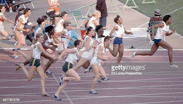The last changeover of the women's 4x100 metres relay with gold medallist Wyomia Tyus of the United States in the lead during the Summer Olympic...
