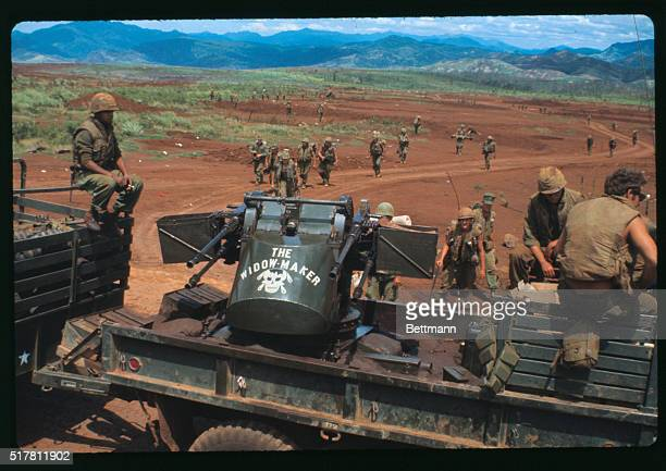 The last contingent of Khe Sanhbased Marines prepares to board trucks for evacuation from this bastion July 4th The once busy landing strip in the...