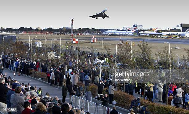 The last ever British Airways commercial Concorde flight touches down at Heathrow airport October 24 in London The world's only supersonic passenger...