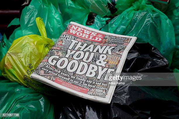 The last ever copy of tabliod newspaper News of The World in amongst the rubbish where many people felt it belonged Sunday 10th July 2011 saw the end...