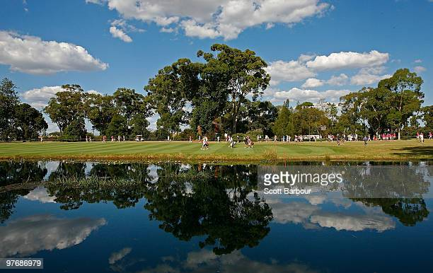 The last group of Laura Davies of England Giulia Sergas of Italy and Karrie Webb of Australia walk the fairway on the 16th hole during the final...