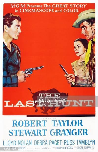 The Last Hunt poster US poster art from left Robert Taylor Debra Paget Stewart Granger 1956