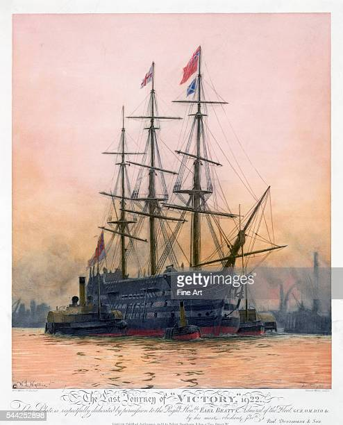'The Last Journey of HMS 'Victory' 1922' by Harold Wyllie published in London by Robert Dunthorne color lithograph