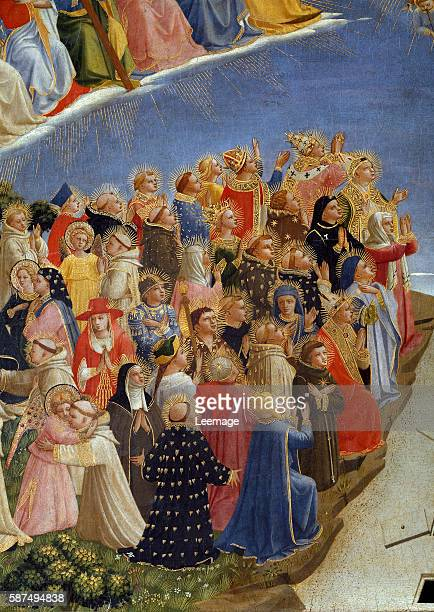 detail of the Saints in Heaven Among them St Margaret of Hungary dominican nun praying Painting by Guido di Pietro called Fra Angelico or il Beato...