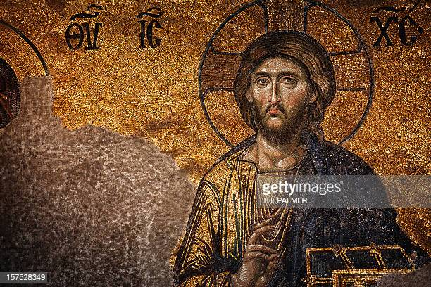 the last judgement mosaic hagia sophia - mosaic stock pictures, royalty-free photos & images