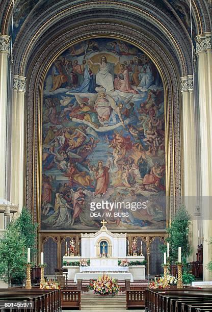 The Last Judgment by Peter von Cornelius fresco Ludwigskirche Munich Bavaria Germany 19th century