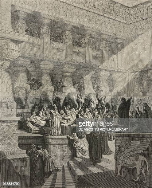 The last King of Babylon receives the divine judgment after using Temple vessels from Jerusalem during a feast Belshazzar's Banquet illustration...