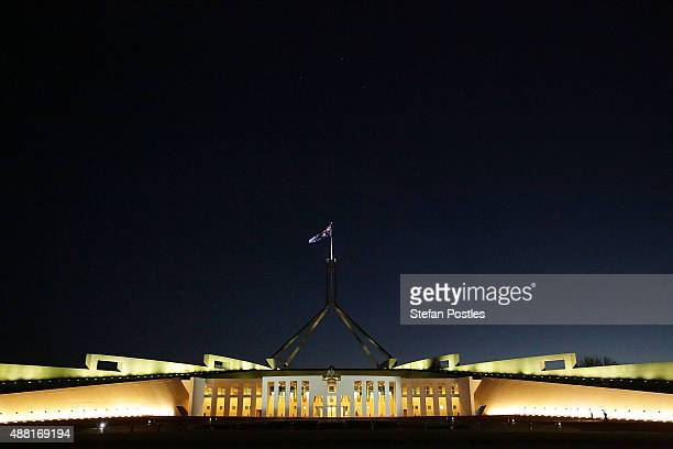 The last light of day disappears behind Parliament House on September 14 2015 in Canberra Australia Malcolm Turnbull announced this morning he would...