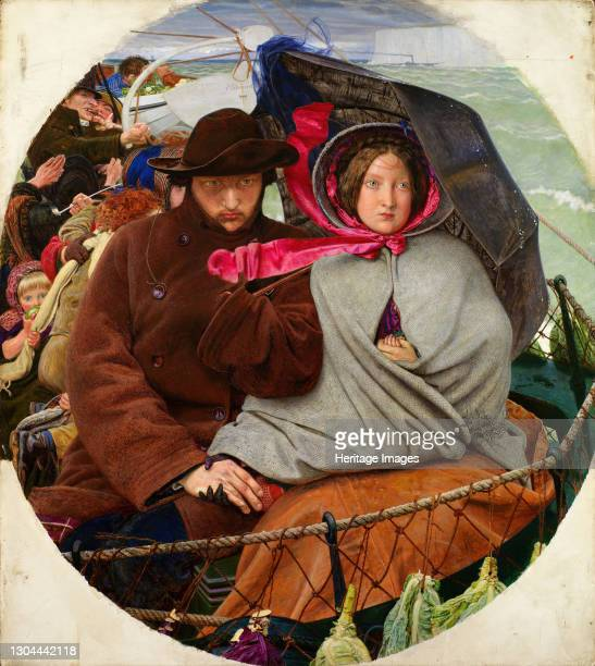 The Last of England, 1852-1855. This is a painting about emigration, the couple are departing for Australia. The subject itself - departure in...