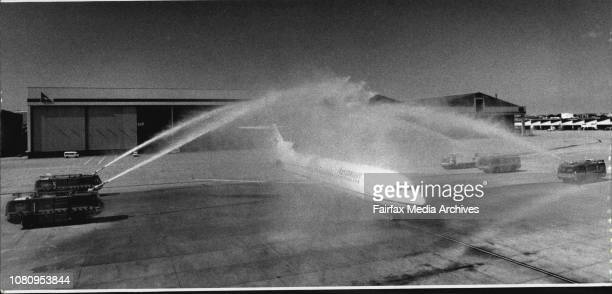 The last of the Boeing 727's arrives at Sydney airport to a water cannon salute December 31 1992