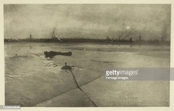 The Last of the Ebb-Great Yarmouth from Breydon, 1887. A work made of photoetching, pl. Xxx from the album 'wild life on a tidal water: the...