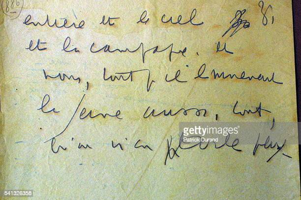 The last pages of the manuscript by Louis Ferdinand Celine 'Journey to the End of the Night' This is the first draft of Celine's novel The text is...