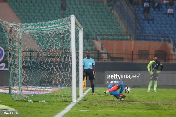 The last penalty kick saved by the goalkeeper during the match between Zamalek SC vs Wolaita Dicha in African Confederation Cup 2018 in Cairo on...