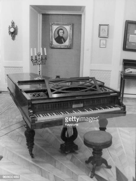 The last piano played by Polish composer and pianist Frédéric Chopin on display at the Fryderyk Chopin Museum at the Ostrogski Palace Warsaw circa...