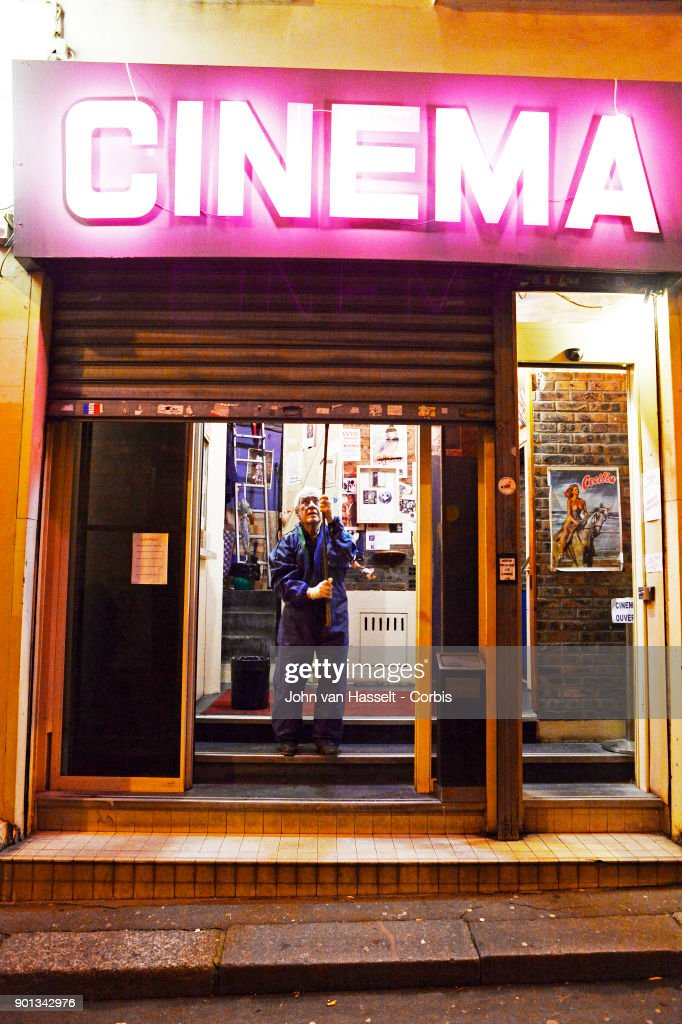 The last porn cinema, le Beverley, in Paris is closing its doors at the end of January. The proprietor Maurice Laroche aged 74 who also sells tickets in the box office has been running the business since 1982. Due to porn on the internet and the dwindling numbers of customers competition is too great. Online erotica has taken over the cinema circuit. Today he sells 600 tickets a week whereas 20 years ago it was more than 1,500. In the early 1980s there were 20 porn cinemas between la Place de la République and l'Opera. Now on January 03, 2018 in Paris, France Maurice Laroche who is retiring must shut down by the end of the month. In the projection room celluloid film survives, screened from a 50 year old film projector to the delight of the connaisseurs of vintage porn where most of the regular clients are more than 60 years old today. Maurice Laroche pulls down the metal shutter when closing the theater. (Photo by John van Hasselt/Corbis via Getty Images01