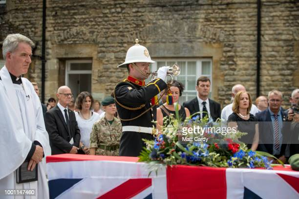 The Last Post is played as The Reverend Simon Kirby conducts a service besides the coffin of World War 2 veteran Patrick Churchill in front of the...