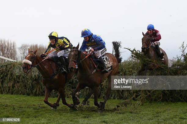 The Last Samuri ridden by David Bass and Vics Canvas ridden by Robert Dunne clear the last fence as eventual winner Rule The World ridden by David...