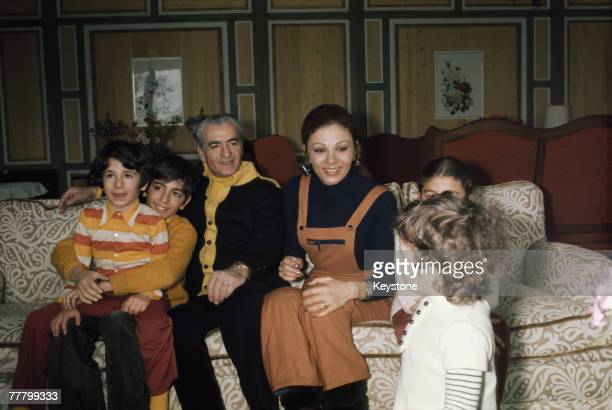 The last Shah of the Iranian monarchy Mohammad Reza Pahlavi and Empress Farah on holiday with their children Reza Farahnaz Ali Reza and Leila in...