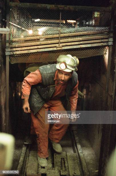 The last shift at Cotgrave Colliery returns to the surface Circa 1992