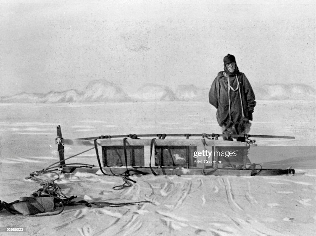 The last sledge from the trek back from the 'Great Southern Journey', Antarctica, 1909. A photograph from British explorer ErnestShackleton's (1874-1922) expedition of 1908-1909 on board the 'Nimrod'. He made three expeditions to the Antarctic, but is best known for the 'Endurance' expedition of 1914-1916 when the ship became trapped in the ice and Shackleton and five colleagues made an epic journey to South Georgia to seek rescue. A print from L'Illustration, 2 October 1909.