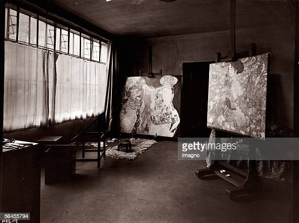 The last studio of Gustav Klimt in Vienna 8th district Feldmuehlgasse 11 with two unfinished paintings Photography 1918 [Gustav Klimts letztes...