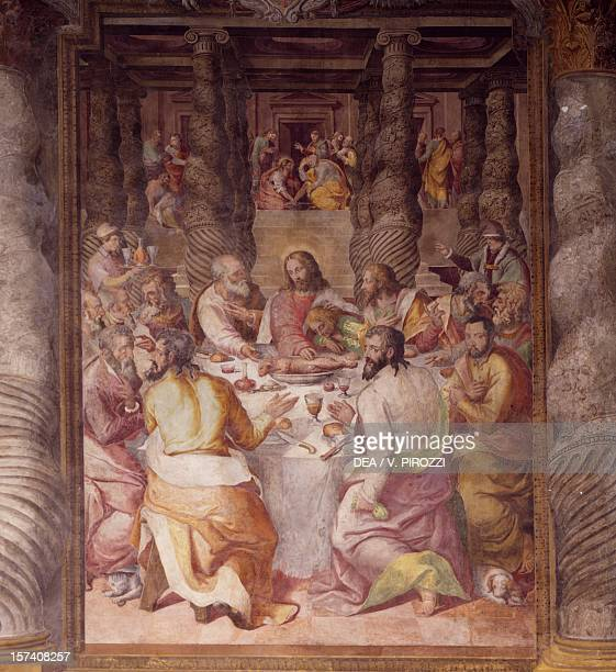The Last Supper 157275 fresco by Livio Agresti Oratory of the Banner Rome Italy 16th century