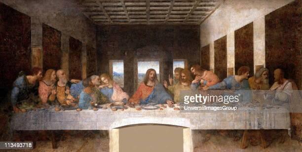 The Last Supper 15th century mural painting in Milan created by Leonardo da Vinci for his patron Duke Ludovico Sforza and his duchess Beatrice d'Este...