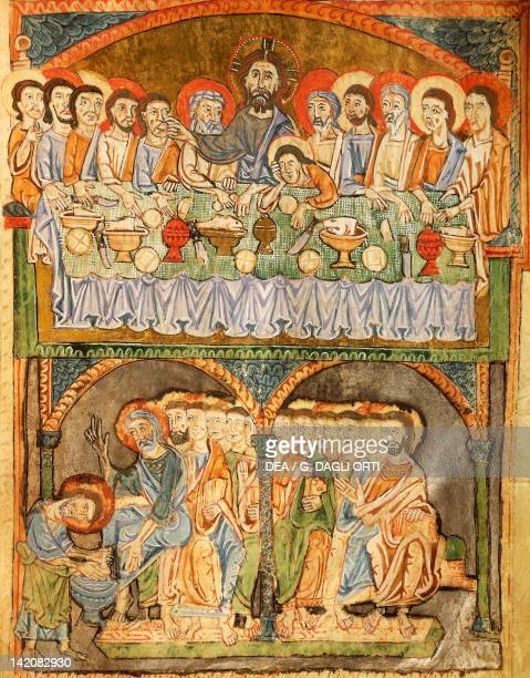 The last supper and washing of feet miniature from the Gospel of the great festivals manuscript France 13th Century