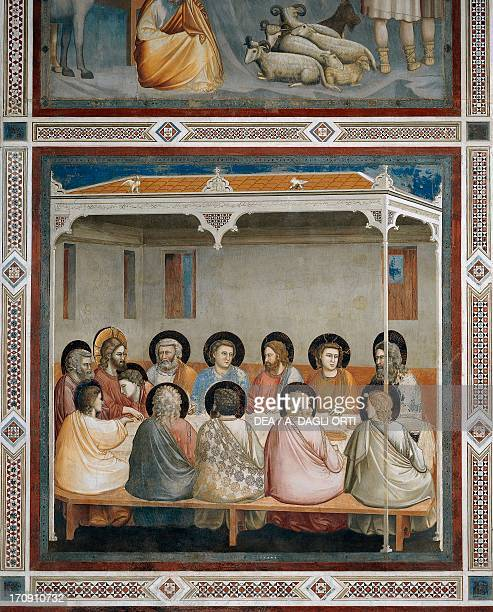 The Last Supper by Giotto detail from the cycle of frescoes Life and Passion of Christ 13031305 after the restoration in 2002 Scrovegni Chapel Padua...