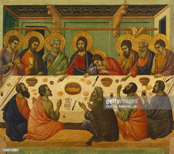 The Last Supper detail of a tile from the Episodes from Christ's Passion and Resurrection the reverse surface of the Maesta' of Duccio Altarpiece in...