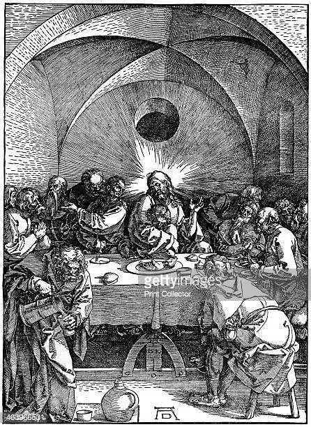 'The Last Supper' from the 'Great Passion' series' c1510 A print from Durer Und Seine Zeit by Wilhelm Waetzoldt Grosse Phaidon Ausgabe 1936