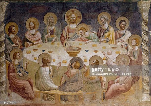The Last Supper of Christ 14th century fresco dininghall of Pomposa Abbey Codigoro Ferrara Italy