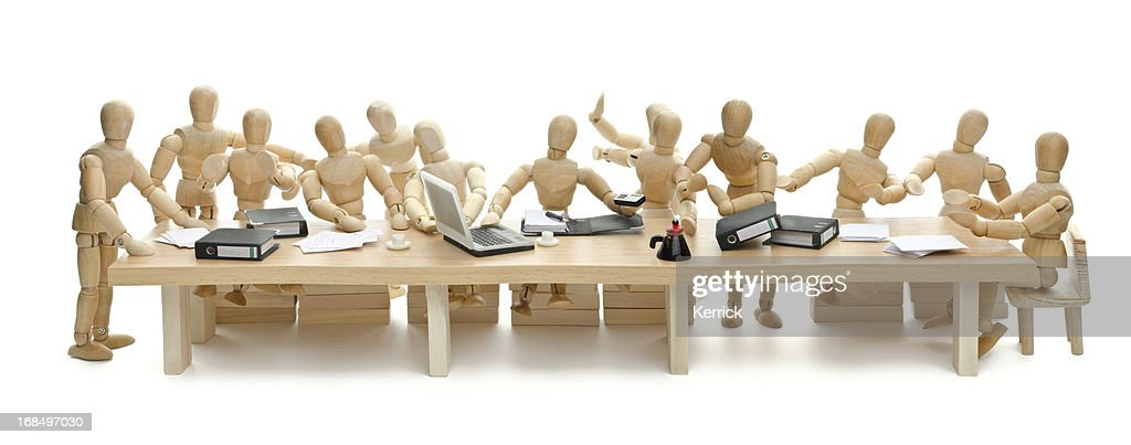 The last Supper of wooden mannequin : Stock Photo