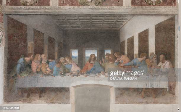 The Last Supper or Cenacolo, 1495-1497, by Leonardo da Vinci , after its restoration completed in 1999, tempera and oil on plaster, 460x880 cm,...